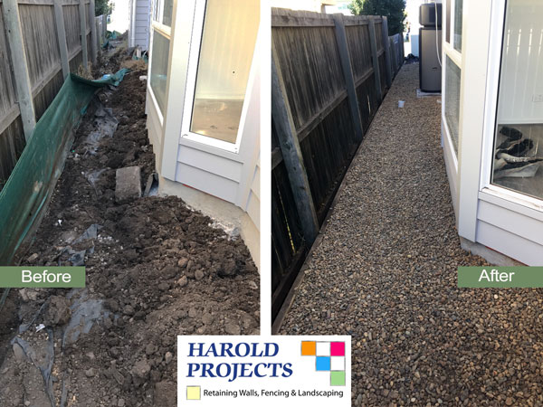 Harold Projects - Before & After shot of Pathway at side of House