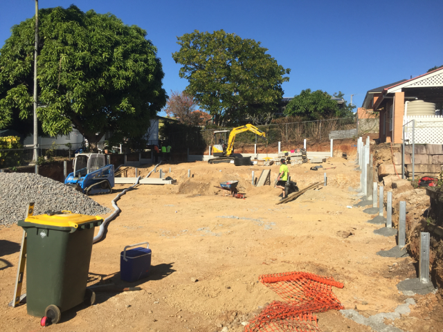 Concrete Sleeper Retaining Wall Mitchelton - Harold Projects